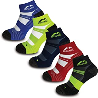 More Mile Endurance Cushioned Running Socks (5 Pair Pack) Anti Blister, Compression Arch Brace Sports Socks, Lightweight &...