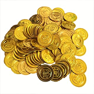 HuiYouHui Pirate Gold Coins Plastic set of 100,Play Gold Treasure Coins for Play Favor Party Supplies, Pirate Party, Treasure Hunt Game and Party Favors( gold pirate money)