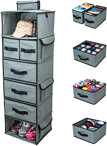 2021 SMIRLY Hanging Closet Organizer Shelves. Grey discount 6 Shelf Closet Storage with 5 Clothes Organizer Drawers and Purpose Made Pockets. Sweater or 2021 Shoe Organizer, Baby Nursery Closet Organization and Storage outlet sale