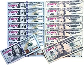 GoodOffer 50 pcs $20 & 50 pcs $100 Dollars Play Money – Realistic Prop Money – Total of $6,000 Copy Money with Two Sides for Pranks, Games, Monopoly – Educational Play Money for Kids – Prop Bills