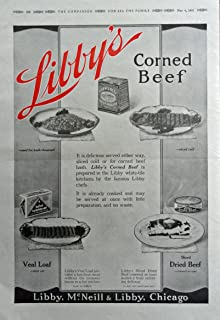 Libby's corned beef,veal loaf, hash-browned,dried beef. 1916 Print Ad. Full Page B&W Illustration 11