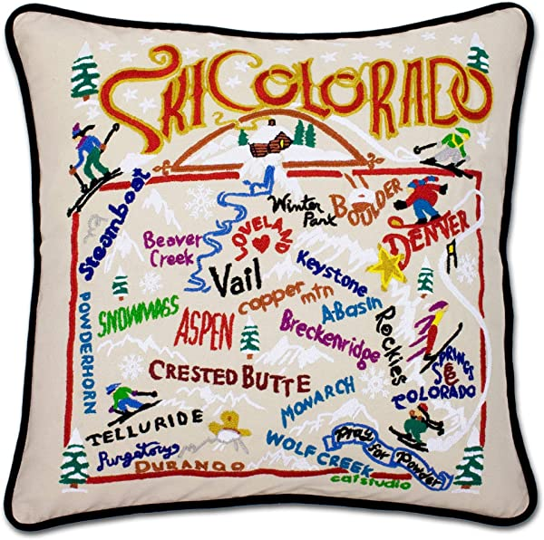 Catstudio Ski Colorado Embroidered Decorative Throw Pillow Beautiful Award Winning Home Decor Artwork Great For The Living Family Bed Rooms