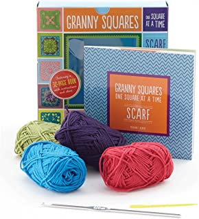 Granny Squares, One Square at a Time / Scarf Kit: Includes hook and yarn for making a granny square scarf - Featuring a 32-page book with instructions and ideas