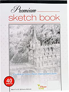 Premium Sketch Book - 9x12-Inch - 40 Sheets per Book - Excellent for Pencil, Pastel, Charcoal and Crayon from Northland Wholesale. (1-Premium Sketch Book)