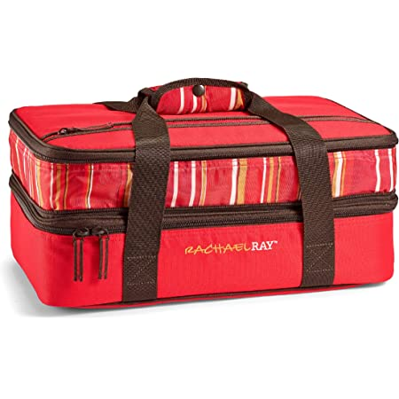 """Rachael Ray Expandable Lasagna Lugger, Insulated Casserole Carrier, Fits 9""""x13"""" Baking Dish, Red Stripes"""