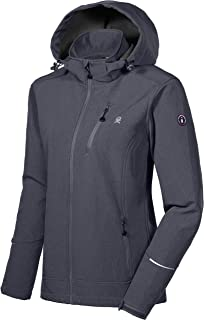 Little Donkey Andy Women's Softshell Jacket Ski Jacket with Removable Hood, Fleece Lined and Water Repellent