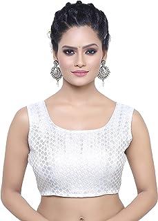 MADHU FASHION'S Women's Silver Banaras Brocade Sleeveless Readymade Stitched Blouse
