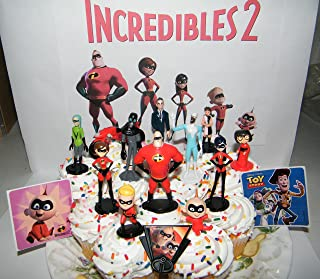 Disney Incredibles 2 Movie Deluxe Cake Toppers Cupcake Decorations Set of 15 with 12 Figures, ToyRing, 2 Stickers Featuring New Villains, Motorcycle and all the Incredibles!