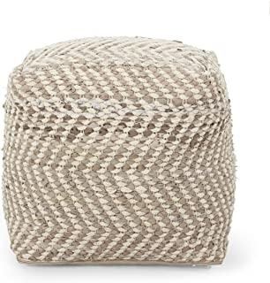 Christopher Knight Home Allison Handcrafted Boho Fabric Cube Pouf, Ivory + Beige
