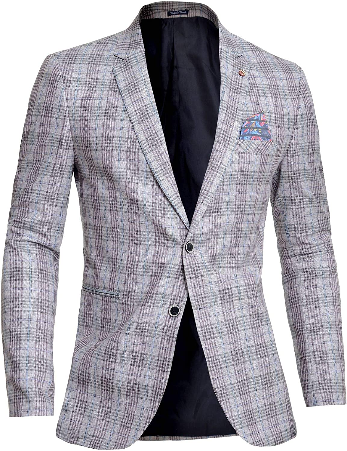 Mens Easy-to-use Plaid Check Blazer Slim Super sale Fit Su Casual Long Formal Sleeve or