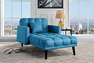 Sofamania Modern Linen Fabric Recliner Sleeper Chaise Lounge - Futon Sleeper Single Seater with Nailhead Trim (Sky Blue)