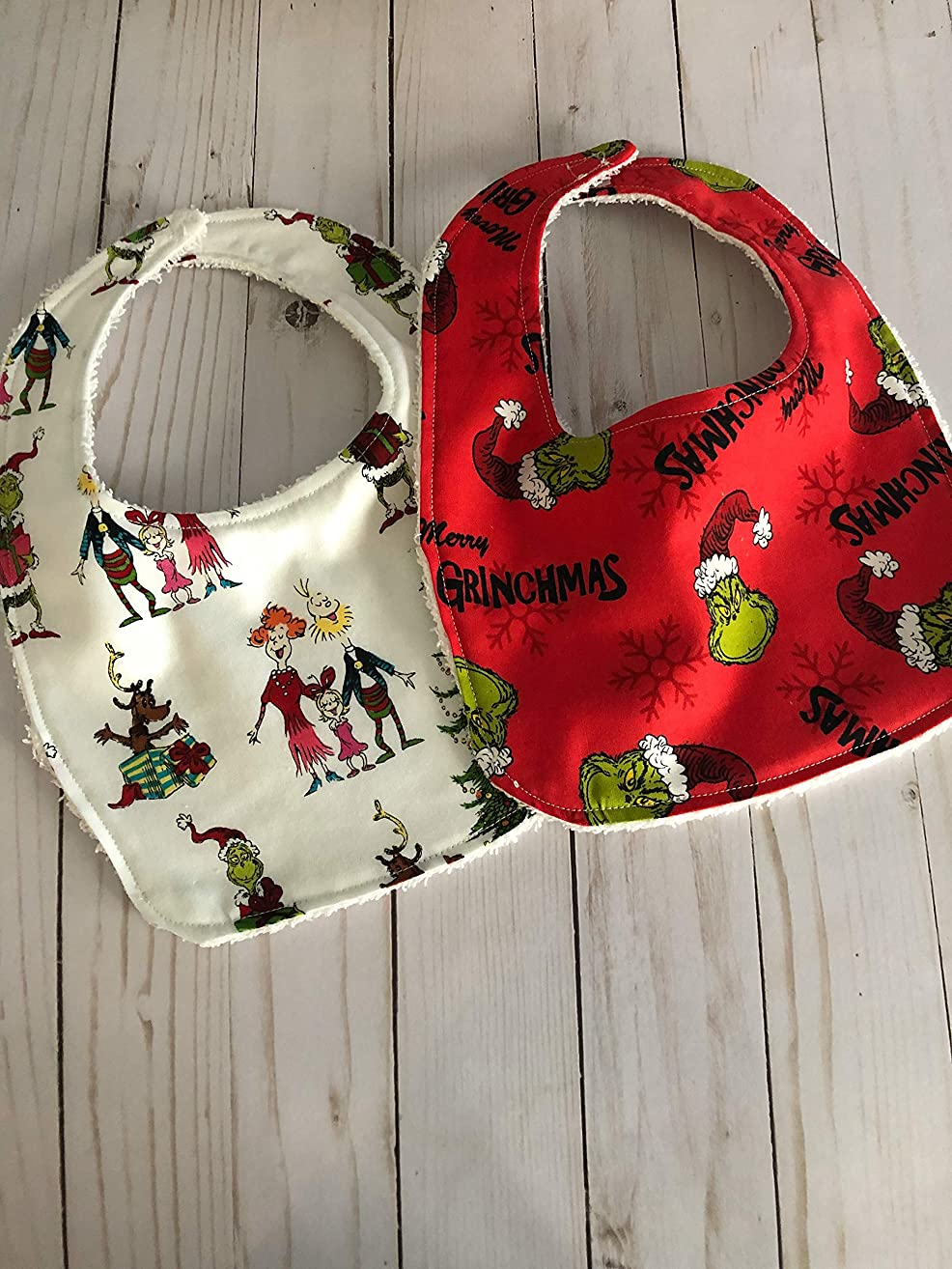 2 Grinch Baby bibs for Christmas for babies 0-12 months