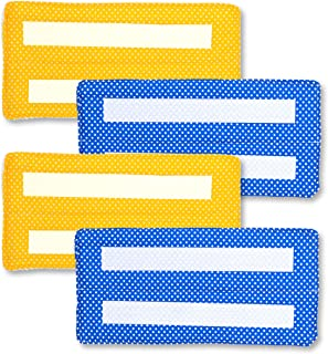 Xanitize Reusable Wet Mop Pads for Swiffer Wet Jet, Washable Cotton Eco-Friendly Refill Replacement Mop Pads for Wet Floor Mopping (Yellow & Blue Dots)