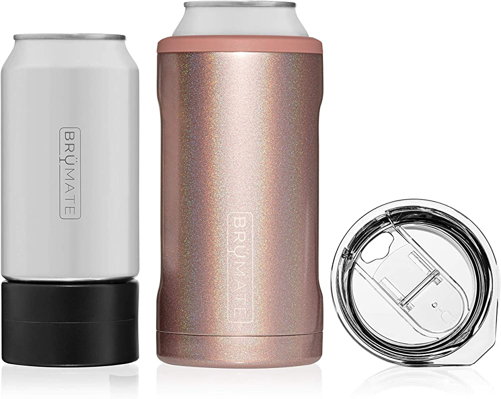 Br Mate HOPSULATOR TR O 3 In 1 Stainless Steel Insulated Can Cooler Works With 12 Oz 16 Oz Cans And As A Pint Glass Glitter Rose Gold
