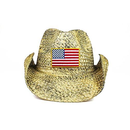 7a6f866e22bdca Cowbucker USA Western Straw Cowboy Hat | Lightweight Outdoor Wide Brim Sun  Hat