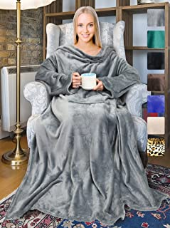 """Tirrinia Wearable Fleece Blanket with Sleeves for Adult Women Men, Super Soft Comfy Plush TV Blanket Throw Wrap Cover for Lounge Couch Reading Watching TV 73"""" x 51"""" Grey"""