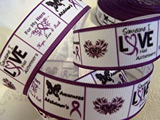 """Grosgrain Ribbon - Alzheimer's Awareness Print - 7/8"""" Wide, 10 Yards - for Awareness Crafts, Group Hair Bows, Sewing!"""