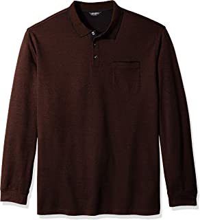 Men's Big and Tall Flex Long Sleeve Jaspe Solid Polo Shirt