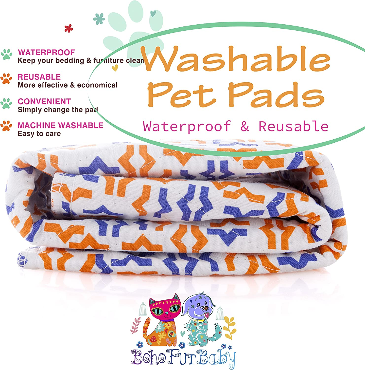 Boho Fur Baby 2Pack Waterproof Kennel Crate Pads for Your Pet Thick Reusable and Washable Pet, Puppy and Dog Training Travel Pee Pads  Size Extra Large 31 x 35