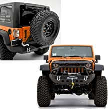 GSI Rock Crawler Front Bumper with Winch Plate+Full Width Rear Bumper with Tire Carrier and 2