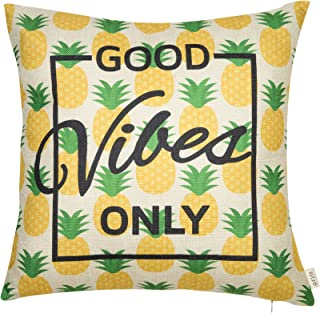 Fjfz Spring Summer Decoration Good Vibes Only Pineapple Motivational Sign Inspirational Décor Cotton Linen Home Decorative Throw Pillow Case Cushion Cover for Sofa Couch, Gold Yellow, 18