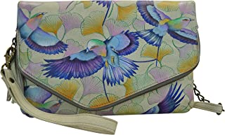 Anuschka Handpainted Leather Convertible Envelope Clutch Wristlet-Wings of Hope