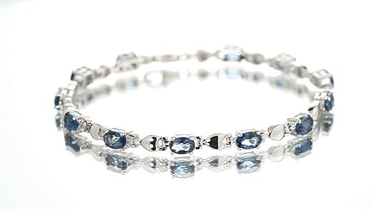 "LONDON BLUE TOPAZ Perles Blotter Bracelet Solid 925 Silver 6.5-7.5/"" #3561"