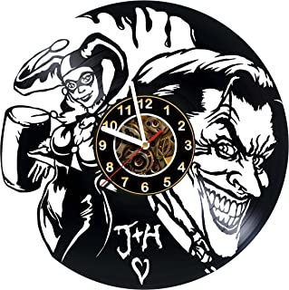 Iskra Shop Joker & Harley - Vinyl Record Wall Clock – handmade gift for any occasion – unique birthday, wedding, anniversary, Valentine's day gifts - Wall décor Ideas for any space