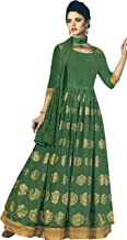 Exotic India Vineyard-Green Designer Floor-Length A-Line Suit with Printed Golden Bootis and Zari Embroidered Border