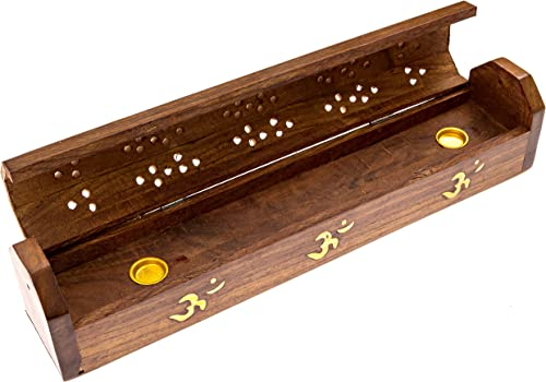 popular Alternative Imagination Om, The Sound of The Universe, Brass Inlay Design - popular Wooden Coffin Incense Burner for Incense Sticks and Cones, 2021 with Storage Compartment sale