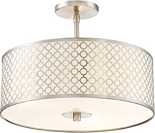 George Kovacs P1267-084 Dots 3 Light Semi Flush Mount, 225 Watt Incandescent, Brushed Nickel