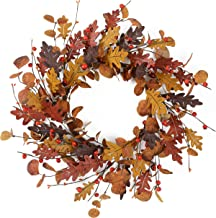 """YNYLCHMX 18"""" Thanksgiving Wreaths for Front Door, Winter Leaves, Eucalputs, and Pinecones Artificial Wreath Modern Farmhou..."""