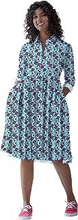 RADANYA Women's Long Sleeve High Waist Pleated Flare Dress