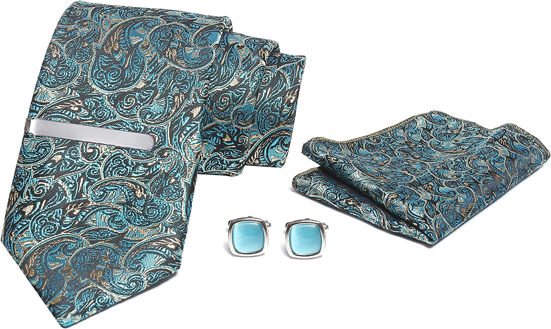 AXLON PS003 Mens Silk Necktie Set with Micro Polyester Clip, Pocket Square, Cufflinks & Brooch Pin Formal Tie (Set of 5)
