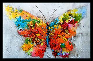 incredible UV Textured Butterfly Modern Art Painting for Home Décor Size 12 inch x 18 inch (Multicolor)
