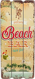 Cartel de madera, diseño con texto Beach Bar, Welcome, Coctails, Beer, Tropical Bar, Cartel para pared, MDF 34x15cm