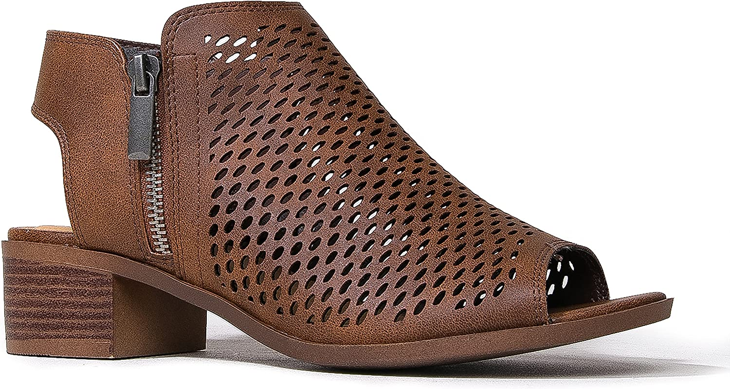 J. Cheap mail order Same day shipping specialty store Adams Tracy Booties for Women - Perfo Heel Peep Block Low Toe