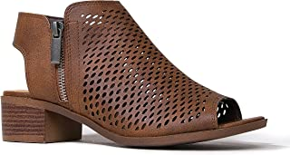 J. Adams Comfortable Perforated Flat Bootie – Casual Open Toe Low Stacked Heel - Cut