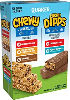 Quaker Chewy Dipps & Granola Bars, Variety Pack, 58 Bars