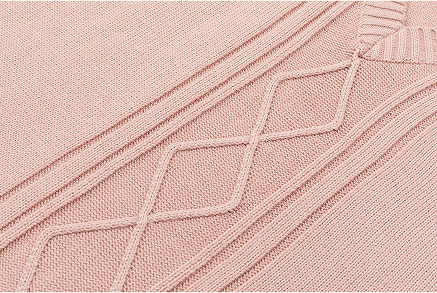 Uaneo Womens Cable Knit Cotton V Neck Sleeveless Pullover Sweater Vests(Pink-L)