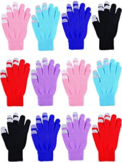 12 Pairs Women's Touch Screen Magic Gloves Winter Stretchy Warm Magic Knit Gloves