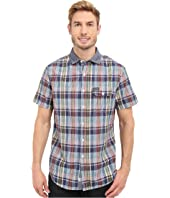 U.S. POLO ASSN. - Short Sleeve Plaid Poplin Spread Collar Sport Shirt