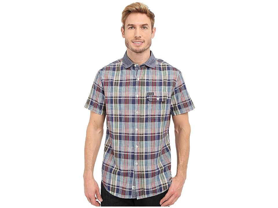 U.S. POLO ASSN. Short Sleeve Plaid Poplin Spread Collar Sport Shirt (Dodger Blue) Men