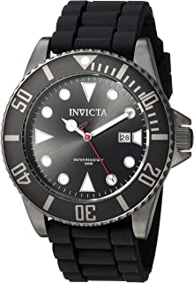 Men's Pro Diver Stainless Steel Quartz Diving Watch with Silicone Strap, Black, 22 (Model: 90305)