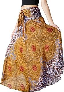 8c963fced29c1 Bangkokpants Women s Long Hippie Bohemian Skirt Gypsy Dress Boho Clothes  Flowers One Size Fits Asymmetric Hem