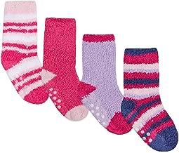TICK TOCK Baby Girls Fluffy Socks | Anti Slip Grippers | 4 Pair Multipack