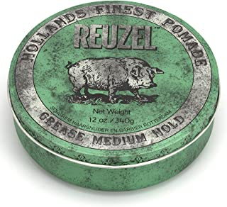 Reuzel - Green Grease Medium Hold Pomade For Men - Oil Based - Medium Shine - Style From Day To Night - Helps Retain Moisture - Pomme & Peppermint Scent - Made With Tea Tree Oil - 12 oz., 340 g