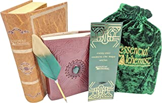 Vintage Leather Journal With Clasp - Handmade Embossed Leather and Green Chakra Stone - 8 Inches by 6 Inches - 200 Page Refillable Gift Set Packed In A Book Box With Velvet Bag And Feather Quill pen