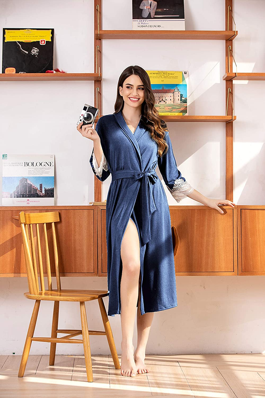 Unibelle Damen Morgenmantel aus Baumwolle 3/4 Ärmeln Bademantel Nachtwäsche Kimono Saunamantel mit Tiefer V-Ausschnitt Schlafanzug B_marineblau