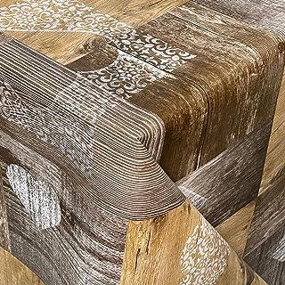 KEVKUS Nappe en toile cirée gaufrée B4044-01 - Motif planches de bois - Largeur : 160 cm - Forme : carrée, ronde et ovale...